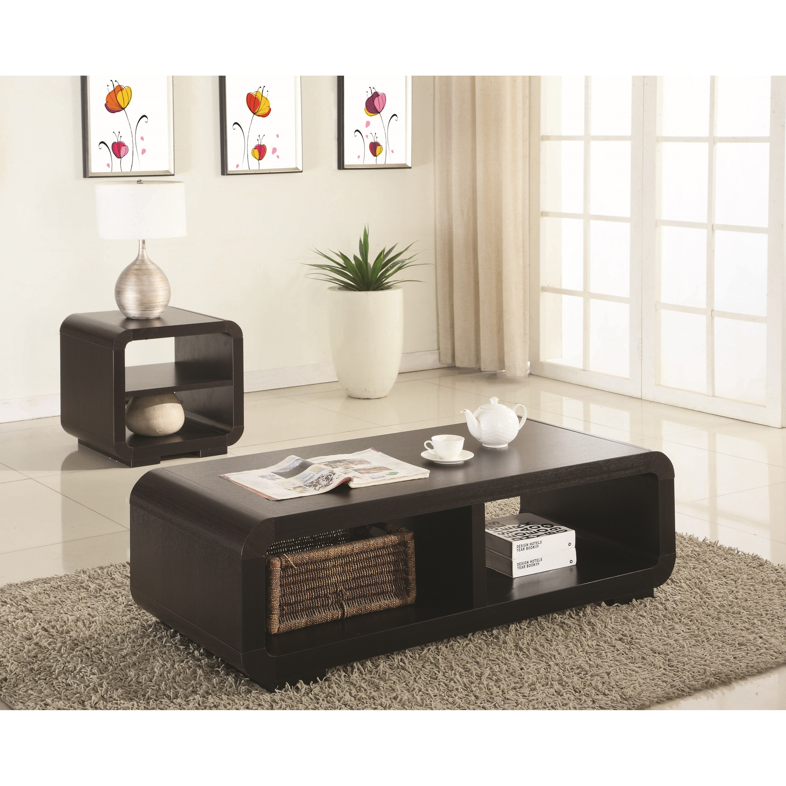 The Bloomin Couch Table For Two: Coaster Transitional Three Piece Occasional Table Set With