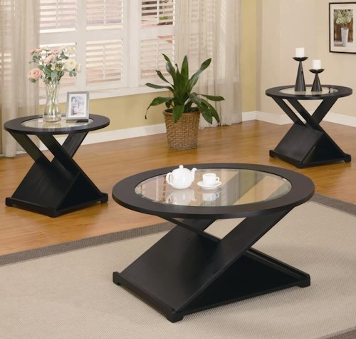 Coaster Occasional Table Sets Contemporary 3 Piece Round Occasional Table Set