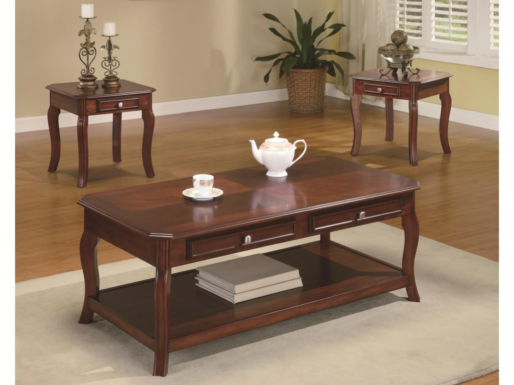 Coaster Occasional Table Sets Traditional 3 Piece Occasional Table ...