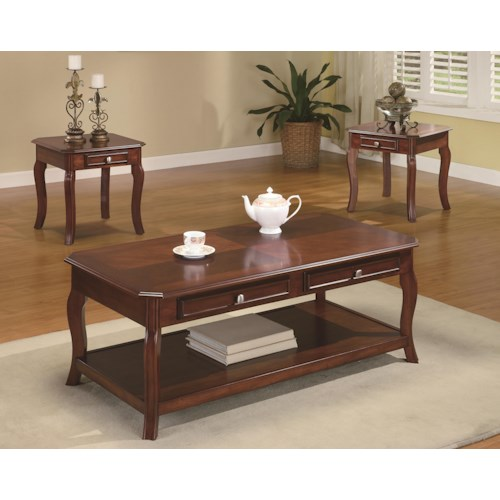 Coaster Occasional Table Sets Traditional 3 Piece Occasional Table Set with Parquet Top