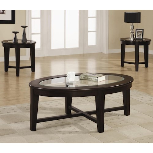 Coaster Occasional Table Sets 3 Piece Occasional Table Set with Tempered Glass Insert