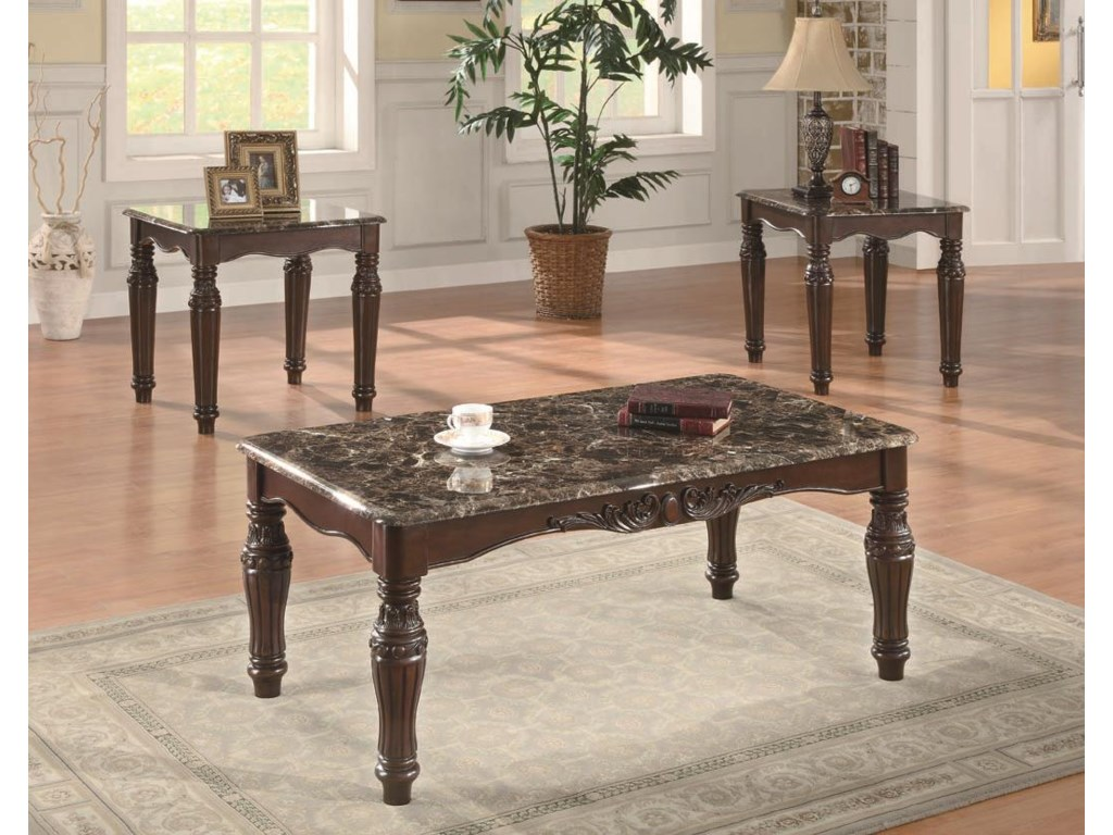 Coaster Occasional Table Sets3-Piece Traditional Faux Marble Table Set