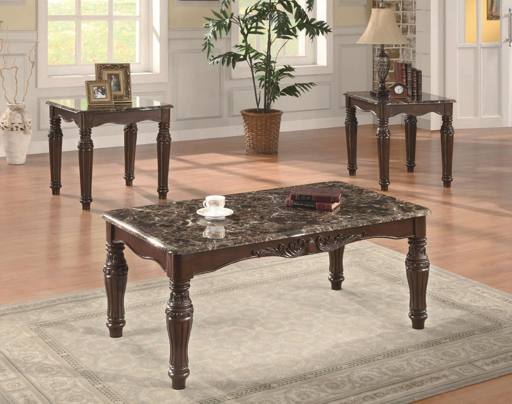 Coaster Occasional Table Sets3 Piece Traditional Faux Marble Table Set