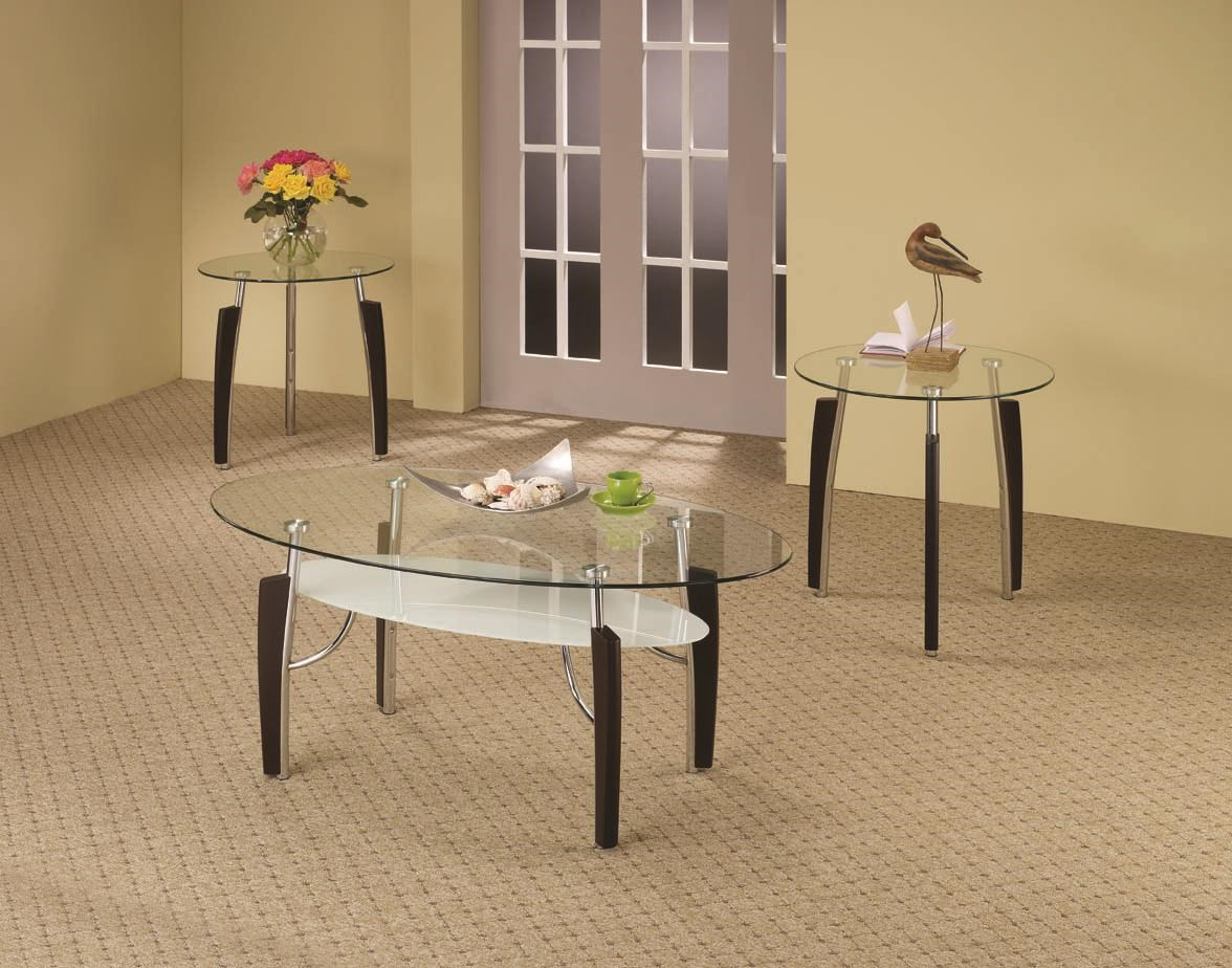 - Coaster Occasional Table Sets 3-Piece Contemporary Round Coffee