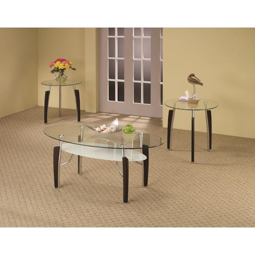 Coaster Occasional Table Sets 3-Piece Contemporary Round Coffee & End Table Set