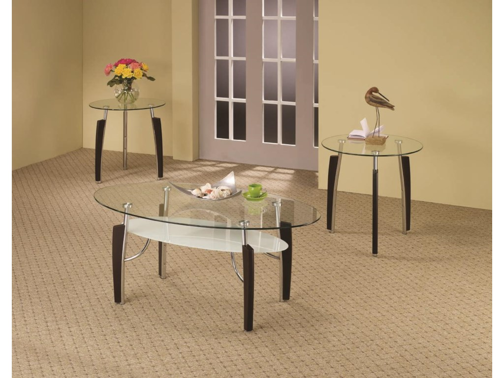 3 Piece Glass Top Coffee Table Sets.Occasional Table Sets 3 Piece Contemporary Round Coffee End Table Set By Coaster At Dunk Bright Furniture