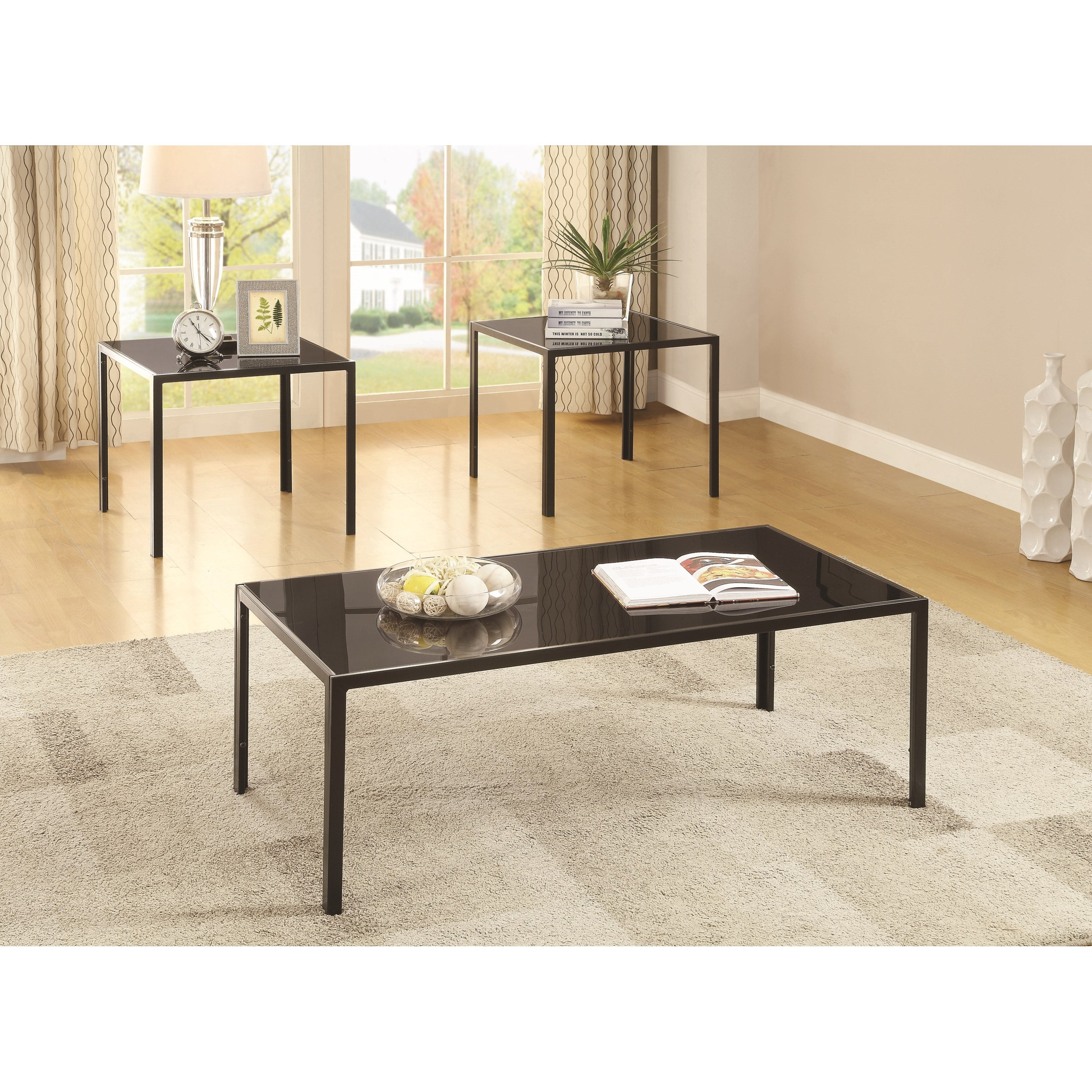 Occasional Table Sets Contemporary Three Piece Occasional Set By Coaster
