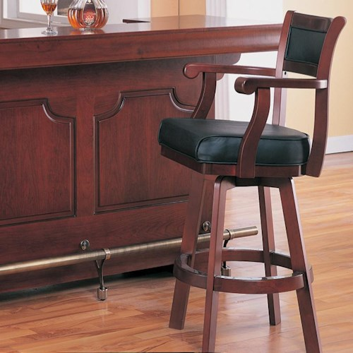 Coaster Lambert Traditional Bar Stool with Leather Back and Swivel Seat