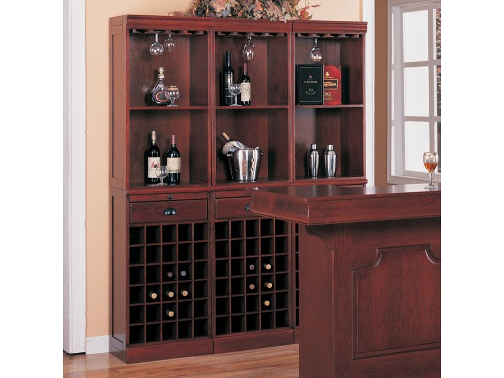 Lambert Traditional 3 Piece Wine Wall Bar Unit By Coaster