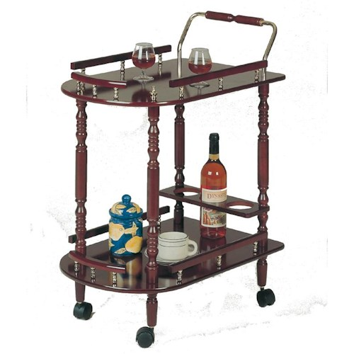 Coaster 3512 Serving Cart with Brass Accents