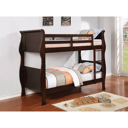 Coaster Benson Traditional Twin Bunk Bed with Curved Sides