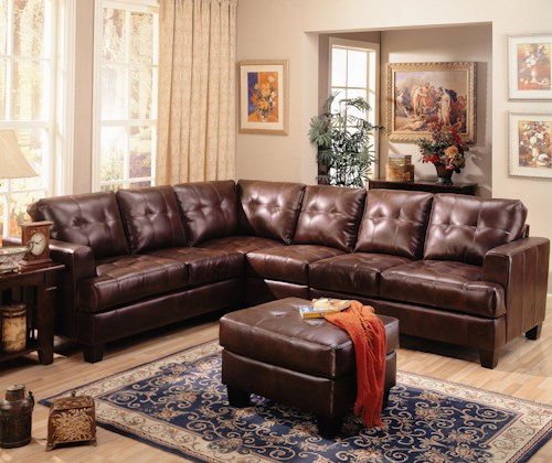 Coaster Samuel Contemporary Leather Sectional Sofa