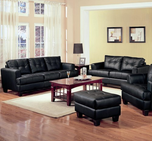 Coaster Samuel 2 Piece Black Bonded Leather Loveseat and Sofa Group
