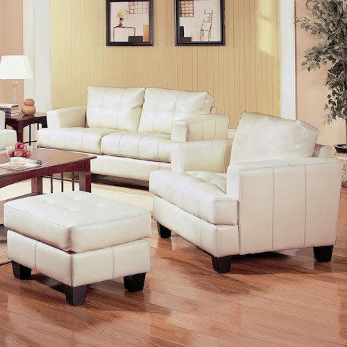 Coaster Samuel Contemporary Leather Chair and Tufted Leather Ottoman