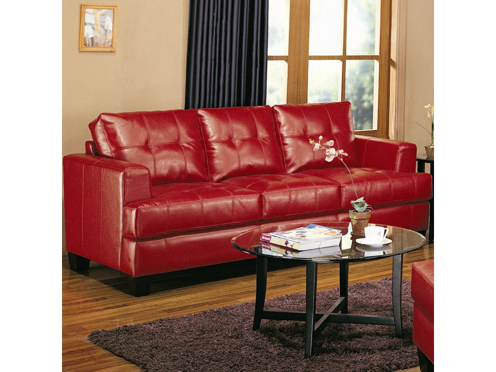 Samuel Contemporary Leather Sofa by Coaster at Value City Furniture
