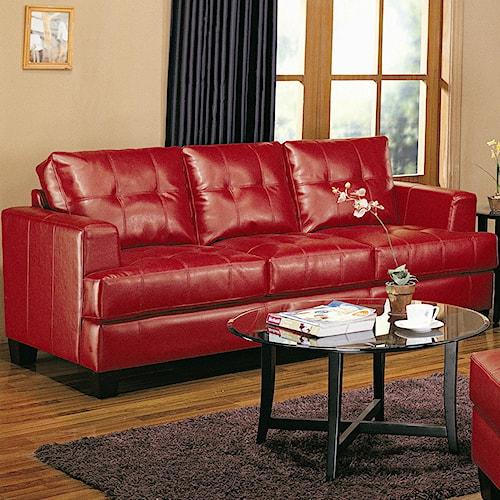 Coaster Samuel Contemporary Leather Sofa