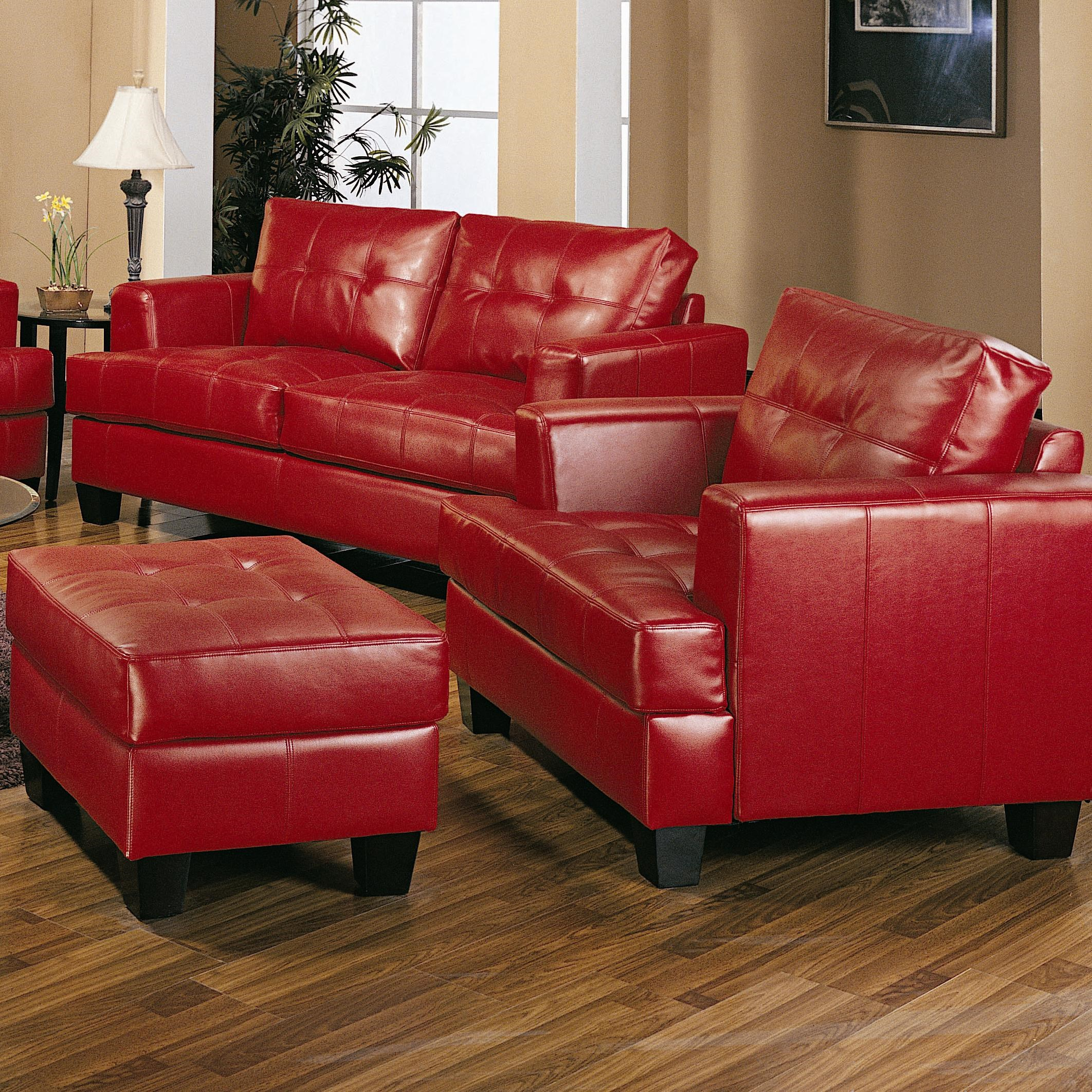 Coaster Samuel Contemporary Leather Chair And Tufted Leather