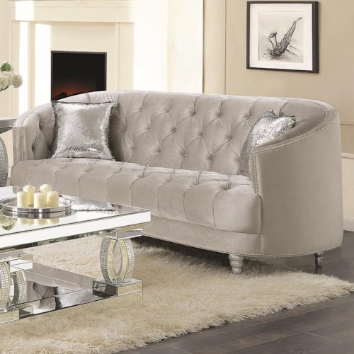 Coaster Avonlea Traditional Glam Sofa with Deep Rhinestone Tufting