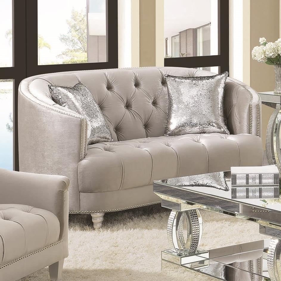 Traditional Glam Love Seat with Deep Rhinestone Tufting