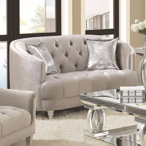 Coaster Avonlea Traditional Glam Love Seat with Deep Rhinestone Tufting