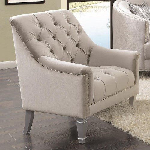 Coaster Avonlea Traditional Glam Upholstered Chair with Deep Rhinestone Tufting