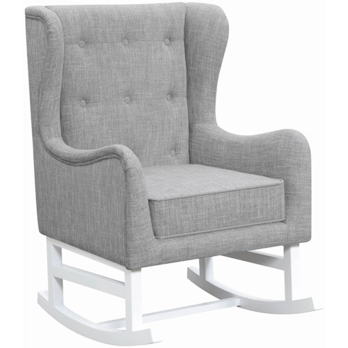 Coaster 600465 Rocking Chair with Button Tufted Wing Back