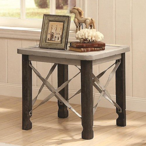Coaster 700490 Rustic End Table with Antique White Top