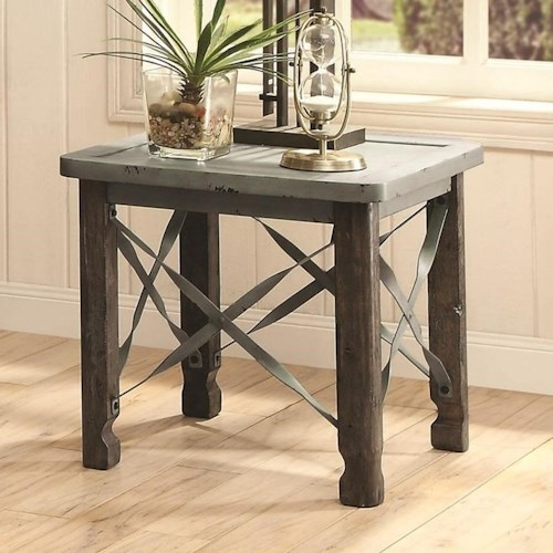 Coaster 700490 Rustic End Table with Sea Foam Blue Top