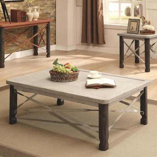 Coaster 700490 Rustic Coffee Table with White Top