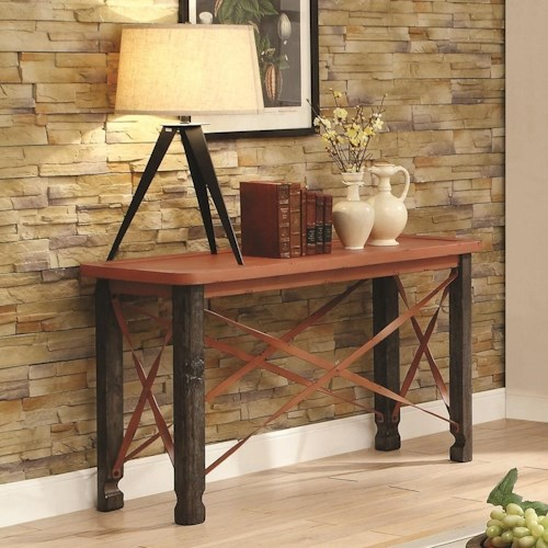 Coaster 700490 Rustic Sofa Table with Orange Top