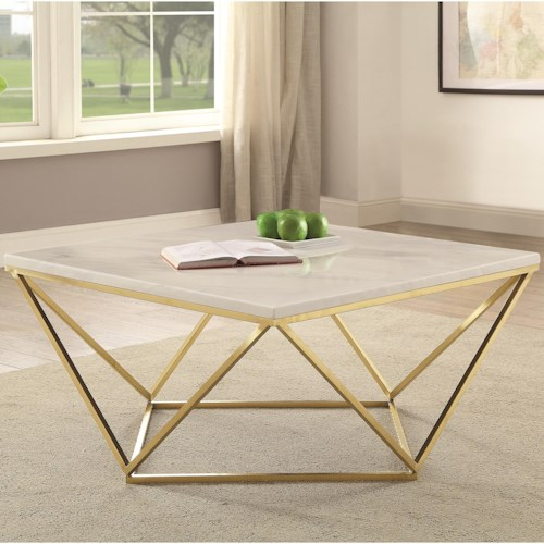 Coaster 700846 Contemporary Faux Marble Coffee Table
