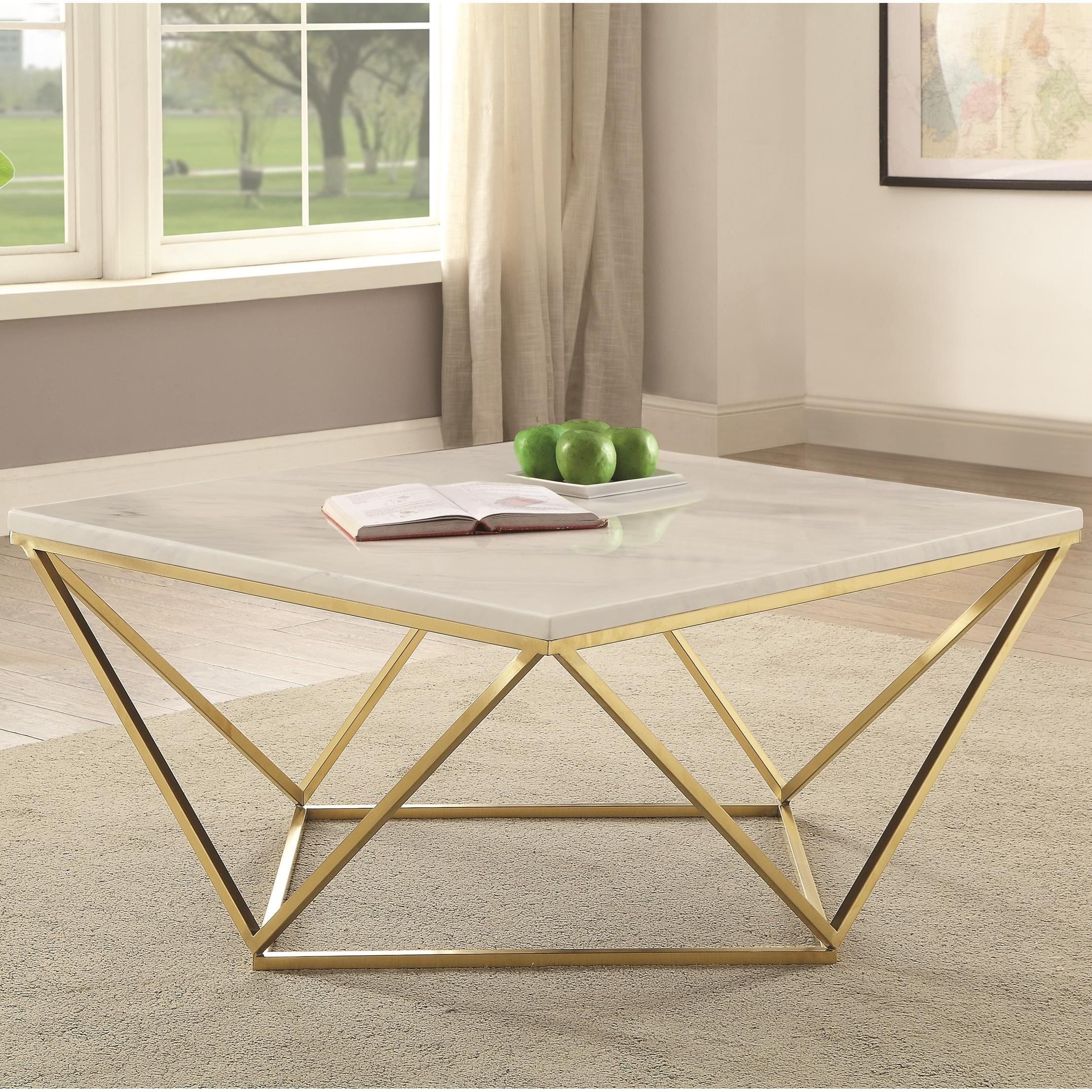 700846 Contemporary Faux Marble Coffee Table By Coaster