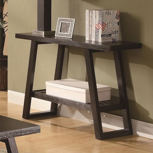 Coaster Occasional Group Casual Sofa Table with Slatted Bottom Shelf