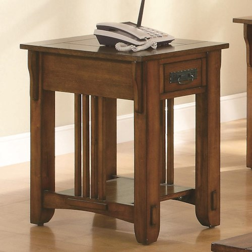 Coaster Occasional Group Drawer Side Table with Shelf