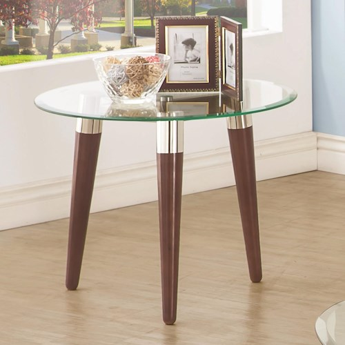 Coaster 702900 Round End Table with Glass Top and Nickle and Oak-Finished Legs