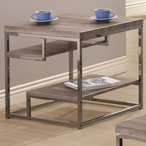Coaster 7037 2 Shelf End Table with Chrome Frame