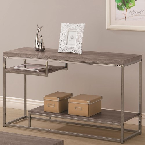 Coaster 7037 2 Shelf Sofa Table with Chrome Frame