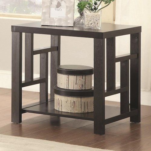 Coaster 703530 End Table with Window Pane Design