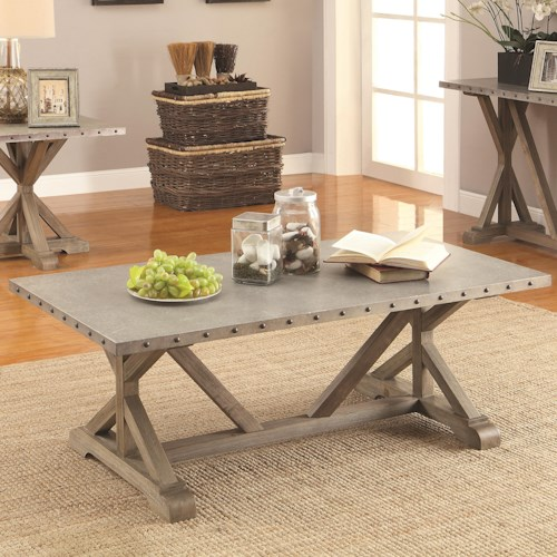 Coaster 70374 Rectangular Nailhead Trim Coffee Table