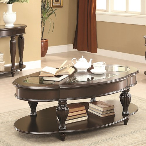 Coaster 70384 Cocktail Table w/ Lower Shelf