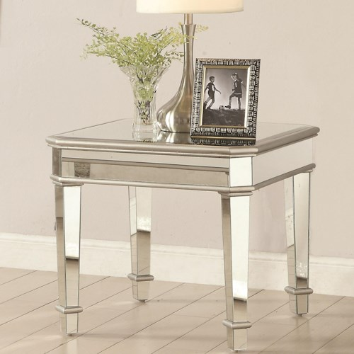 Coaster 70393 Square Mirrored End Table
