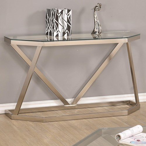 Coaster 70400 Metal Sofa Table w/ Glass Top