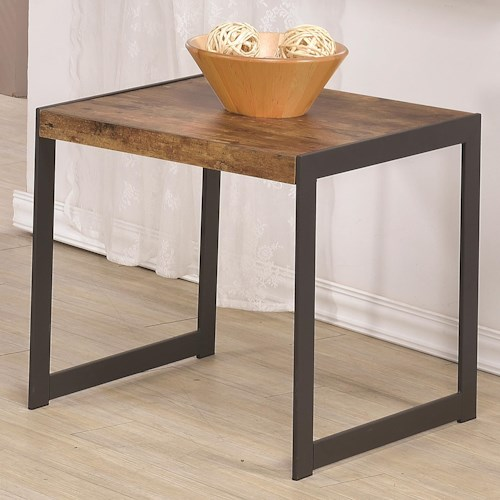 Coaster 70402 Rustic End Table w/ Metal Base