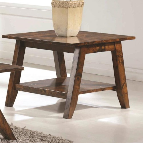 Coaster 70403 Mid Century End Table with Rustic FInish