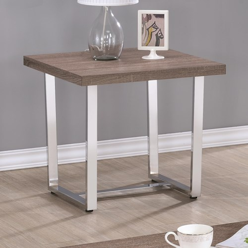Coaster 70418 Square End Table with U Shaped Metal Base