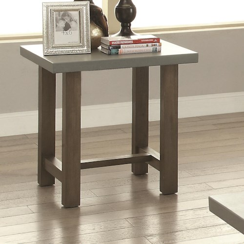 Coaster 70424 Rectangle End Table with Concrete Top