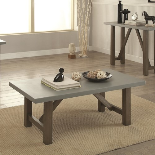 Coaster 70424 Coffee Table with Concrete Top