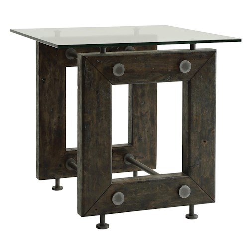 Coaster 70427 Industrial End Table with Tempered Glass Top