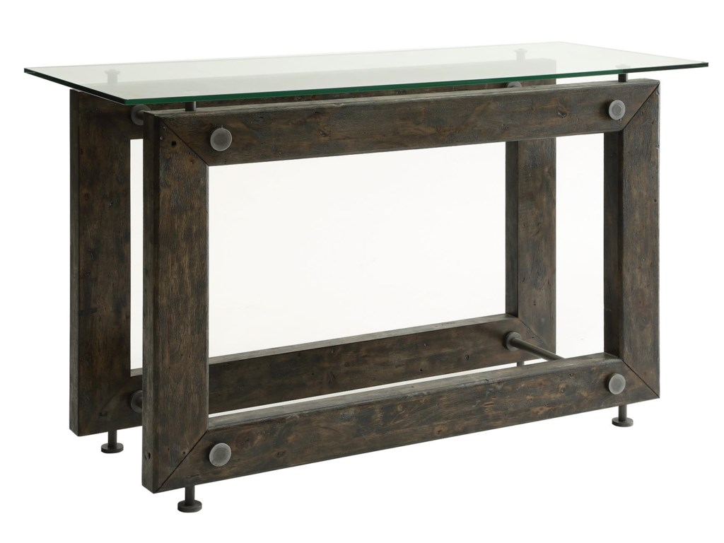 Coaster 70427 704279 Industrial Sofa Table With Tempered Glass Top