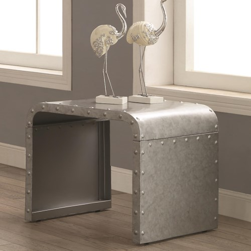 Coaster 70434 Metal End Table with Nailhead Accents